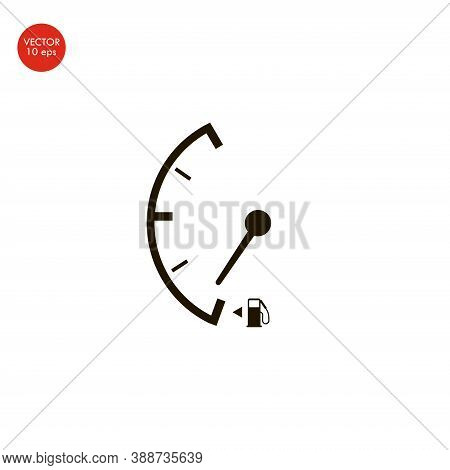 Flat Image Of The Low Fuel Sign. Vector Illustration 10 Eps