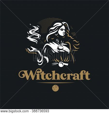Witch With Fire In Her Hands. A Woman With A Medallion, A Sorceress, In Her Hands A Magic Fire. Gyps