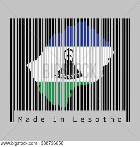 Barcode Set The Shape To Lesotho Map Outline And The Color Of Lesotho Flag On Black Barcode With Gre