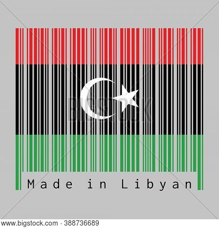 Barcode Set The Color Of Libya Flag, Red Black And Green With A White Crescent And Star. Text: Made