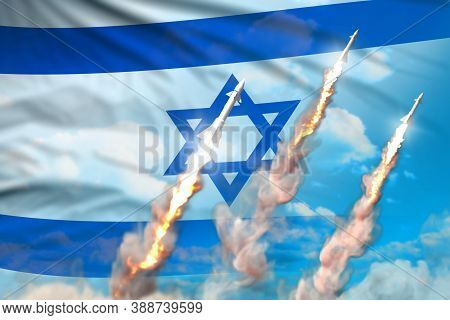Israel Nuclear Missile Launch - Modern Strategic Nuclear Rocket Weapons Concept On Blue Sky Backgrou