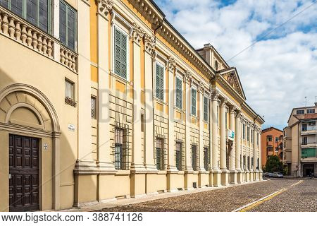 Mantua,italy - September 8,2020 - View At The Building Of Palace Of Arco In The Streets Of Mantua. M