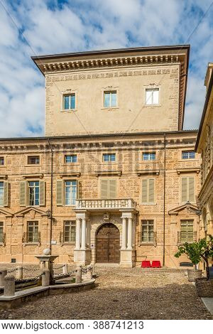 Mantua,italy - September 8,2020 - View At The Building Of Palace Canossa In The Streets Of Mantua. M