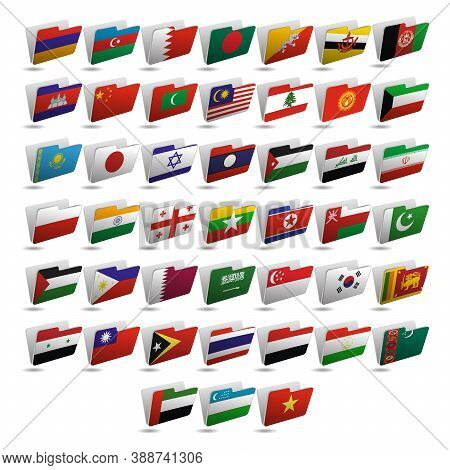 Set Of Folder Icons With Flags Of Asia. 10 Eps.