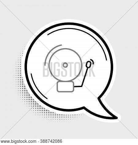Line Ringing Alarm Bell Icon Isolated On Grey Background. Alarm Symbol, Service Bell, Handbell Sign,