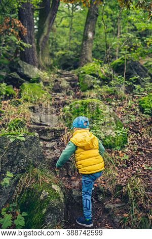 Toddler Boy Hiking In Mountains, Family Adventure, Top View. Little Child Walking In Rocky Green For
