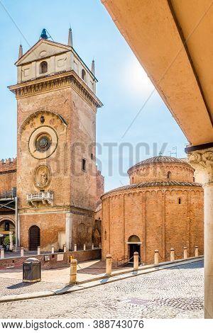 View At The Automatic Clock Tower And Rotunda Of San Lorenzo In Mantova (mantua) - Italy