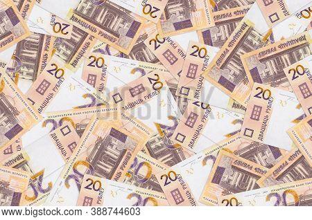 20 Belorussian Rubles Bills Lies In Big Pile. Rich Life Conceptual Background