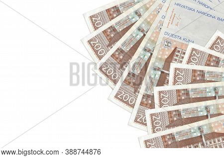 200 Croatian Kuna Bills Lies Isolated On White Background With Copy Space. Rich Life Conceptual Back