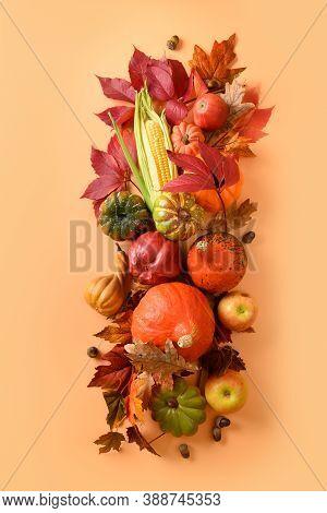 Vertical Composition Of Fall Harvest, Pumpkins, Corncob, Colorful Autumn Leaves On Orange Background
