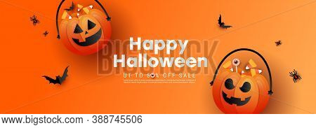 Happy Halloween Background Template With Terrible Face Pumpkin And Color Candy, Bats With Text On Or