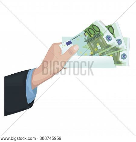 Man Hand Holds 100 Euro. Money Investment. Business Concept. Cash Money Turnover. Isolated
