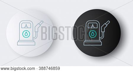 Line Petrol Or Gas Station Icon Isolated On Grey Background. Car Fuel Symbol. Gasoline Pump. Colorfu