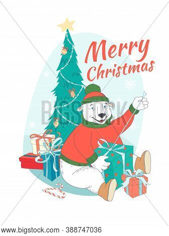 Merry Christmas Greeting Card Cute Polar Bear Wearing Knitted Sweater Ant Hat Opening Presents Under