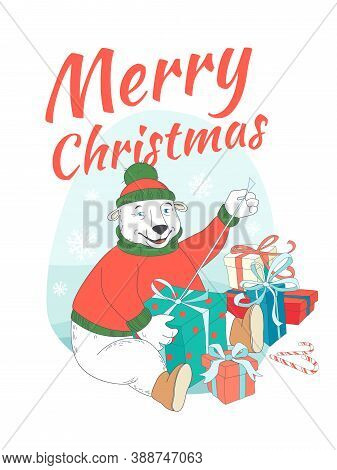 Merry Christmas Greeting Card Cute Polar Bear Wearing Knitted Sweater Ant Hat Opening Presents. Hand