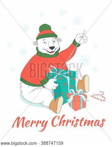 Merry Christmas Greeting Card Cute Polar Bear Wearing Knitted Sweater And Hat Opening Presents . Han