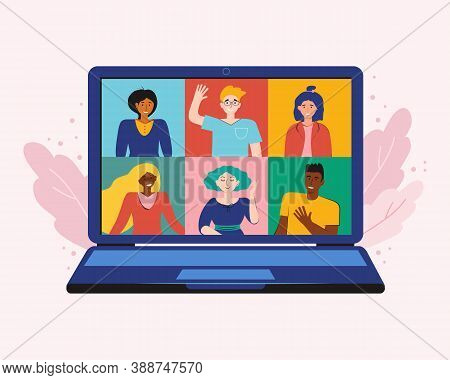Video Conference From Home For Meeting And Work Online With Teleconference. Corporate Video Call, Di