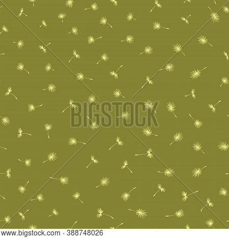 Seamless Pattern With Flying Dandelion Seeds. Floral Texture. Dandelion Flowers. Vector Floral Illus