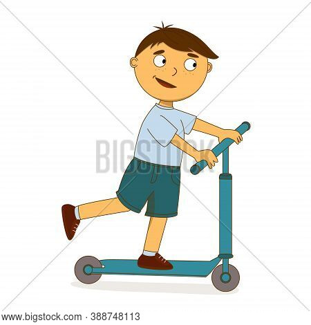The Boy Rides A Scooter. Cartoon Character With Outline Strokes, Big Eyes. A Boy In A T-shirt And Sh