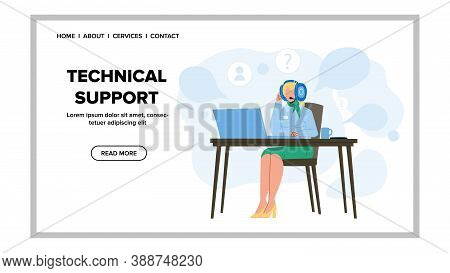 Technical Support Call Center Operator Vector. Technical Support Service Young Woman Dispatcher With