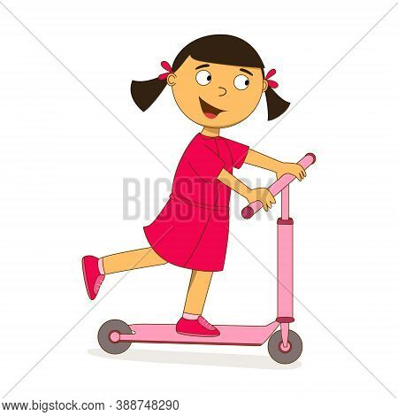 A Little Girl In A Pink Dress Is Riding A Scooter. Cute Cartoon Character With Big Eyes, Ponytails,