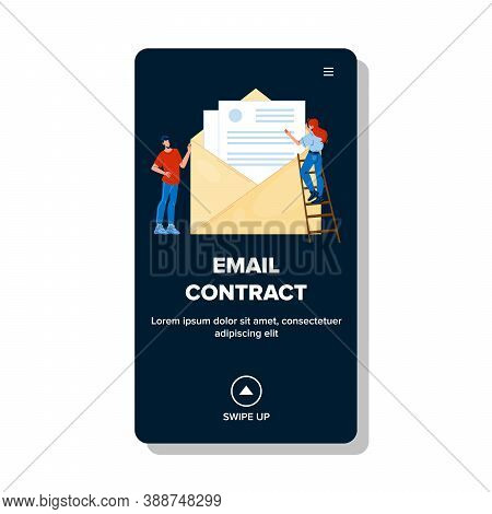 Email Contract Sending Business People Vector. Electronic Mail Contract Agreement Send Businesspeopl