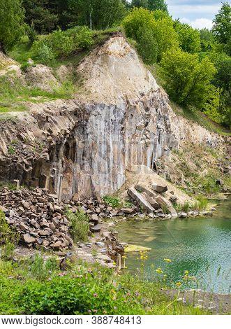 Summer Basalt Pillars Geological Reserve And Basaltove Lake, Kostopil District Of Rivne Region, Ukra