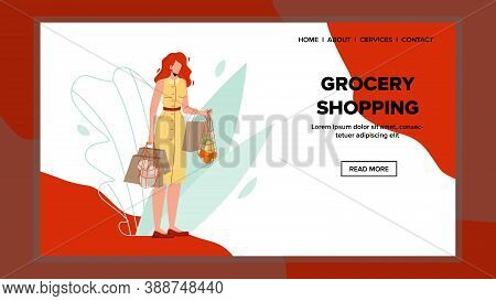 Woman Shopper Shopping Grocery Supermarket Vector. Young Girl Holding Bags With Products, Client Sho