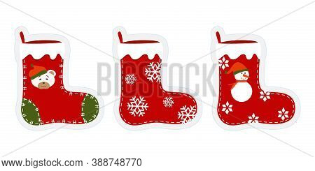 Three Christmas Stockings With Funny Drawings. Stickers, Cliparts For Xmas. Red, Green Socks With Sn