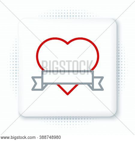 Line Heart And Ribbon Icon Isolated On White Background. Romantic Symbol Linked, Join, Passion And W