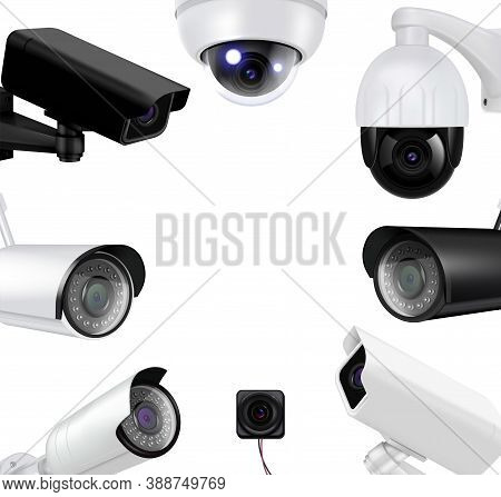 Video Surveillance Security Cameras Realistic Composition Black And White Cameras Form A Circle Vect