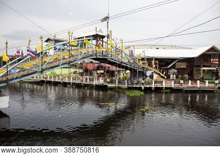 Khlong Samrong Canal For Thai People Journey And Tour In Passage Water Transport At Wat Bang Phli Ya