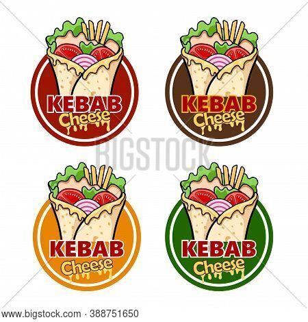 Wrap Kebab Cheese And Ingredients For Kebab, Vector Illustration