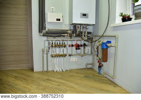Independent Heating System In Boiler Room At Home. Domestic Water Supply System. Water Supply For Un