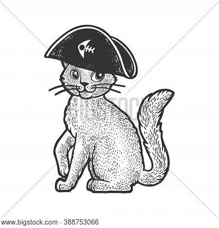 Pirate Cat Cartoon Character Sketch Engraving Vector Illustration. T-shirt Apparel Print Design. Scr