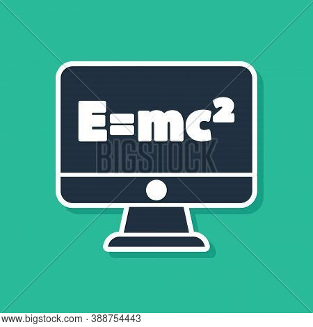 Blue Math System Of Equation Solution On Computer Monitor Icon Isolated On Green Background. E Equal