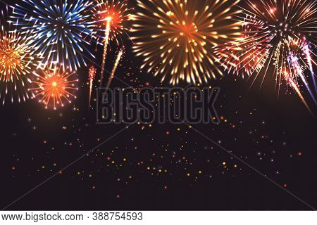 Realistic Fireworks Composition With Images Of Pyrotechnics Firework Display Colourful Shapes And Pa