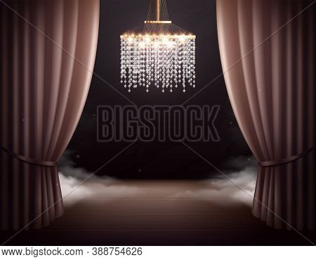 Theatre Scene With Chandelier Interior Realistic Composition With View Of Classic Stage With Curtain