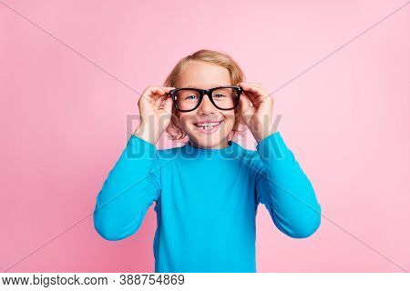 Photo Of Small Schoolkid Hands Take Off Hold Glasses Wear Specs Blue Turtleneck Isolated Pastel Pink