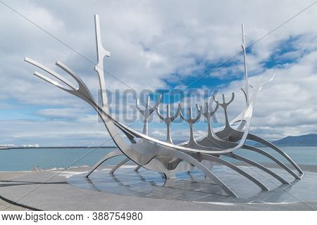 Reykjavik, Iceland - June 19, 2020: Solfar Or Sun Voyager Sculpture By Jon Gunnar Arnason. Sun Voyag