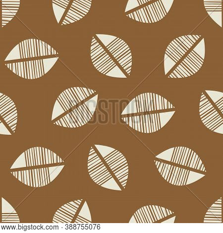 Vector Abstract Mono Print Style Stylized Foliage Seamless Pattern Background. Simple Lino Cut Effec