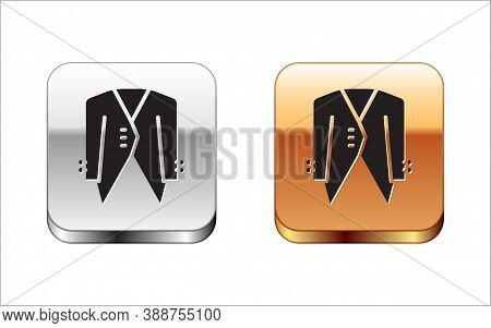 Black Suit Icon Isolated On White Background. Tuxedo. Wedding Suits With Necktie. Silver-gold Square
