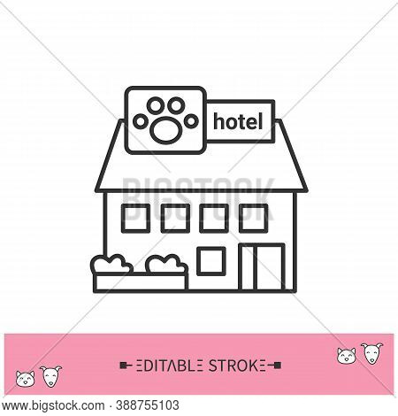 Pet Friendly Hotel Line Icon. Travelling With Pets. Hotel Welcomes Domestic Animals. Pet Hotel. Home
