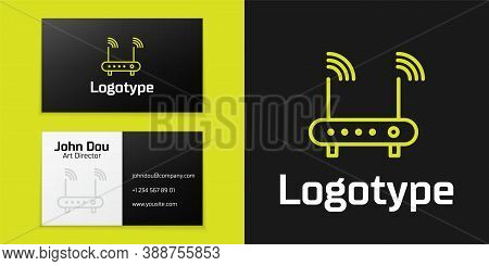 Logotype Line Router And Wi-fi Signal Symbol Icon Isolated On Black Background. Wireless Ethernet Mo