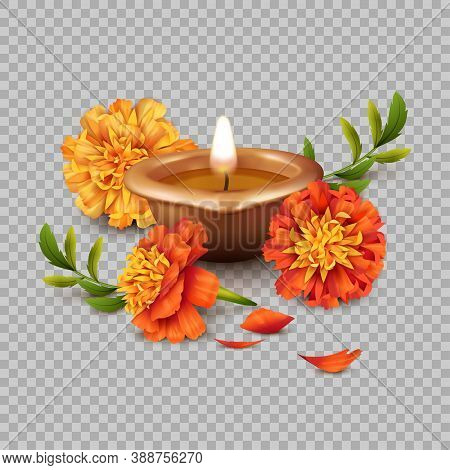 Realistic 3d Vector Composition Of Diwali Oil Lamp And Marigold Flowers. Traditional Indian Copper O