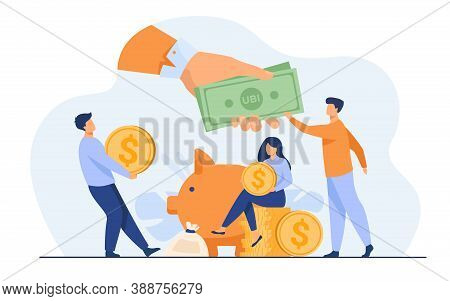 Social Support Concept. Residents Getting Basic Benefits From Government. Flat Vector Illustration I