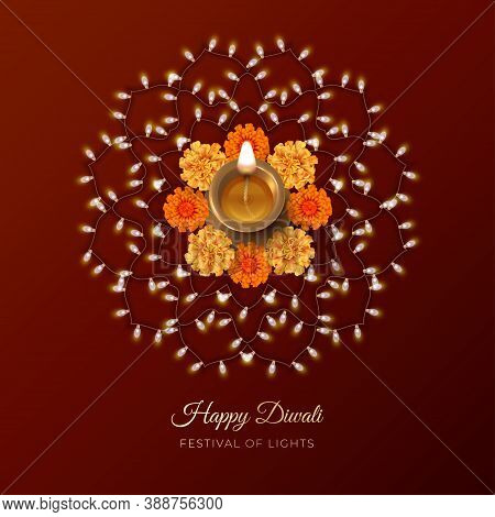 Traditional Diwali Festival Card With Diwali Oil Lamp, Marigold Flowers And Rangoli Ornament Formed