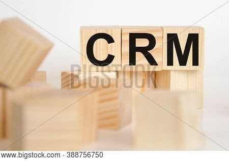 Crm - Word From Wooden Blocks With Letters, Personal Opinions Prejudice Bias Concept, Random Letters
