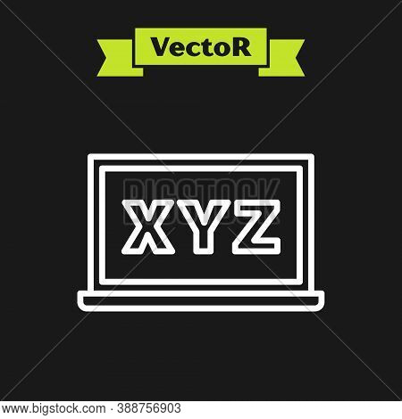 White Line Xyz Coordinate System On Chalkboard Icon Isolated On Black Background. Xyz Axis For Graph