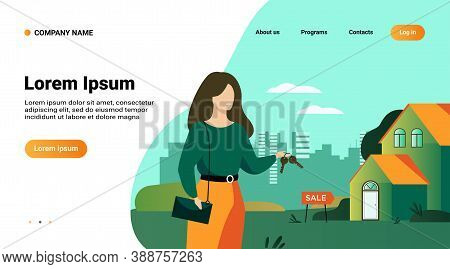Realty Agent Holding Keys And Standing Near Building Isolated Flat Vector Illustration. Cartoon Woma